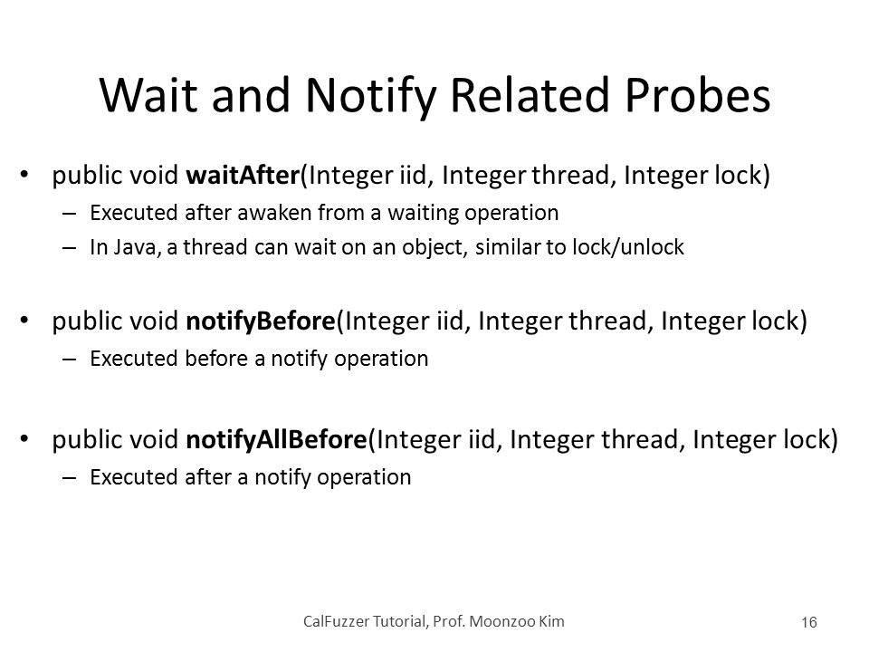 Wait and Notify Related Probes