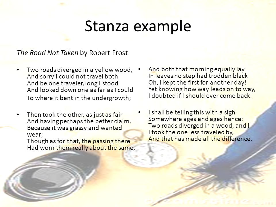 Stanza example The Road Not Taken by Robert Frost