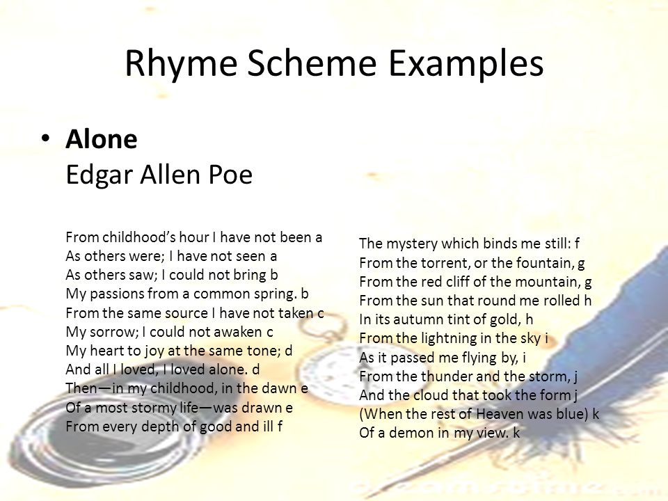 Rhyme Scheme Examples