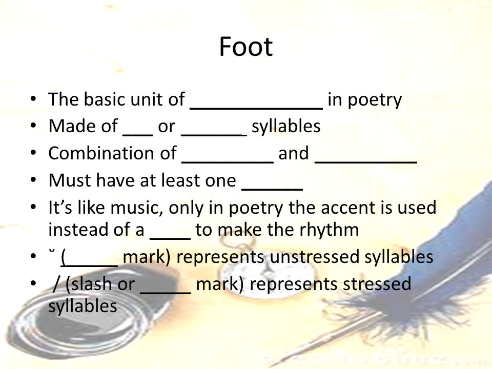 Foot The basic unit of _____________ in poetry
