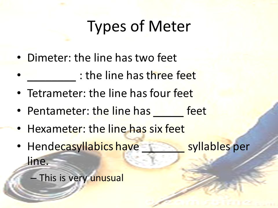 Types of Meter Dimeter: the line has two feet