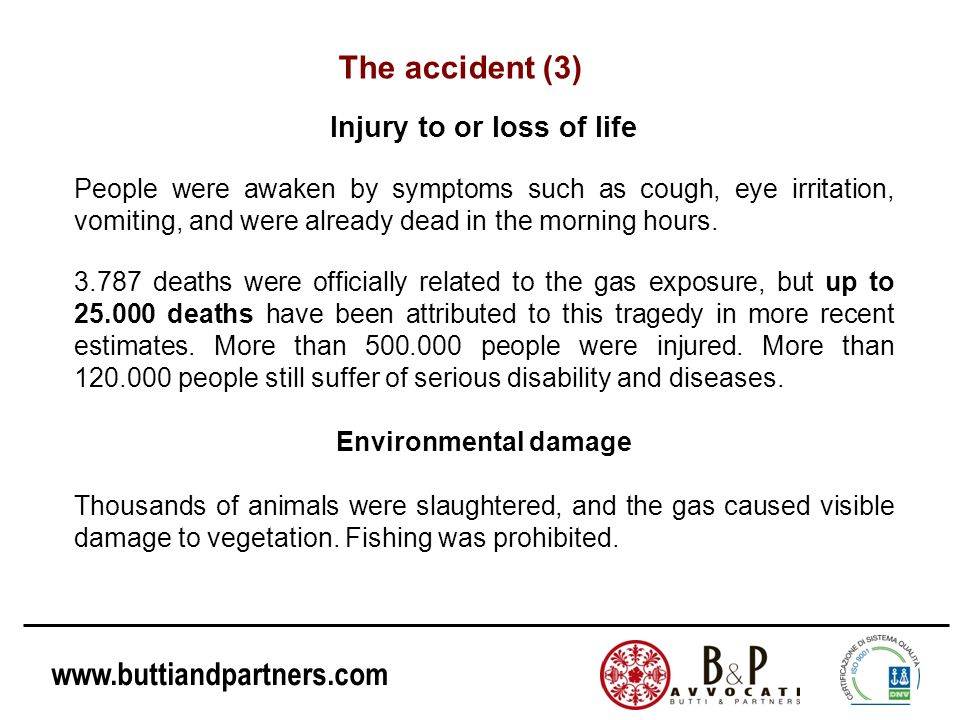 Injury to or loss of life