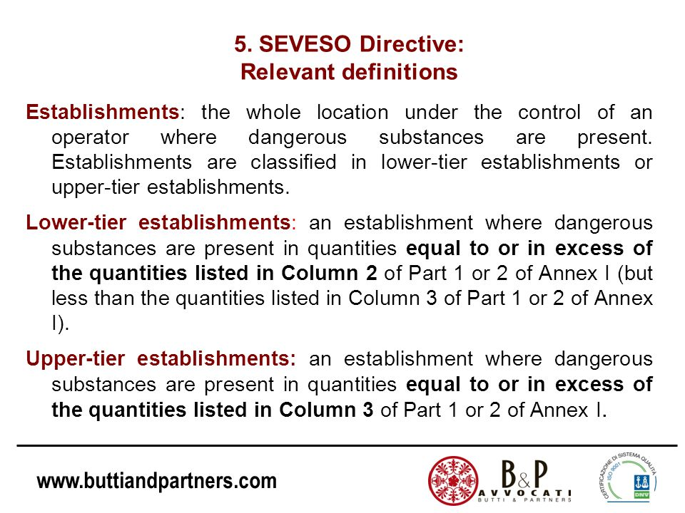 5. SEVESO Directive: Relevant definitions