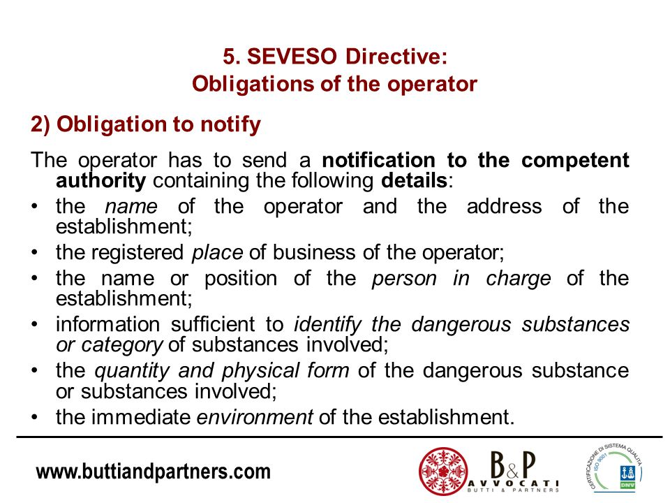 Obligations of the operator