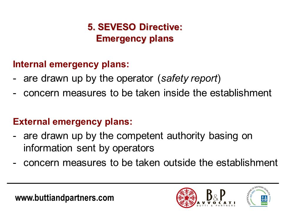 5. SEVESO Directive: Emergency plans
