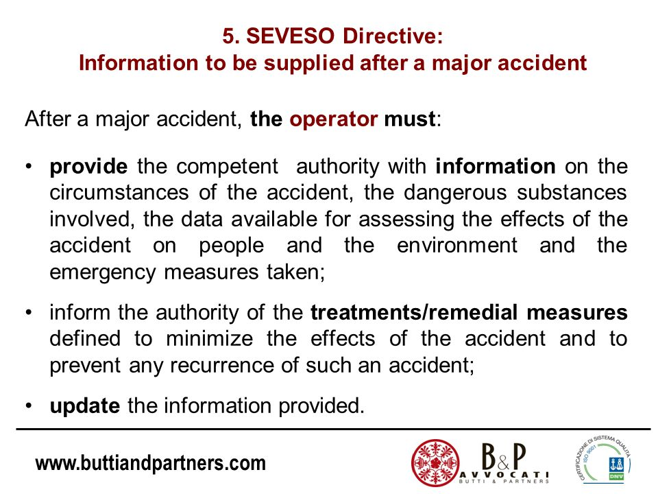 5. SEVESO Directive: Information to be supplied after a major accident