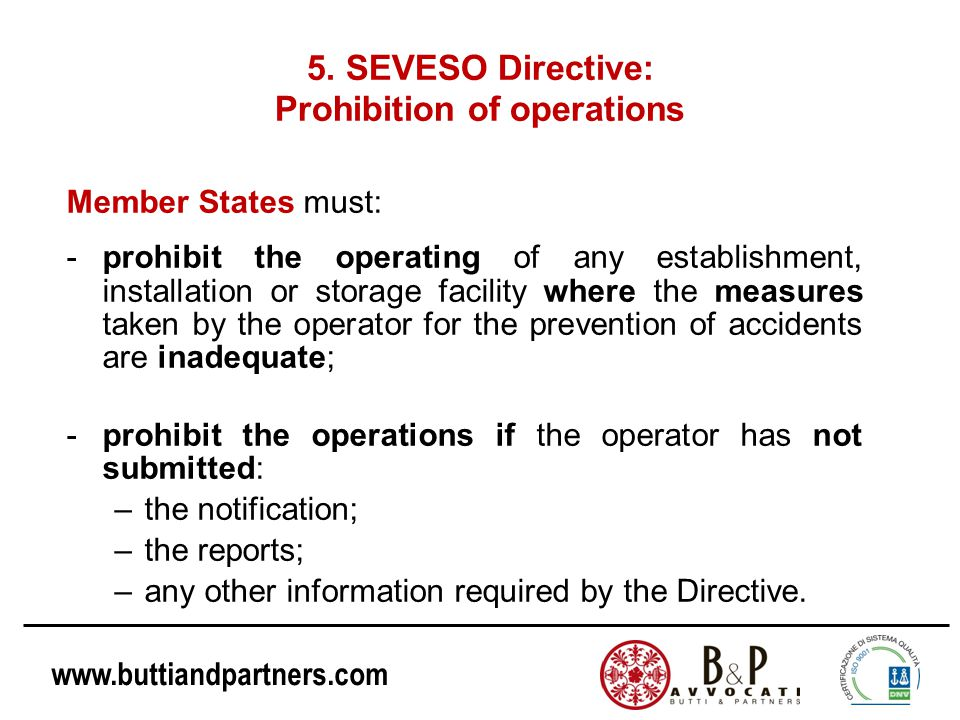 5. SEVESO Directive: Prohibition of operations