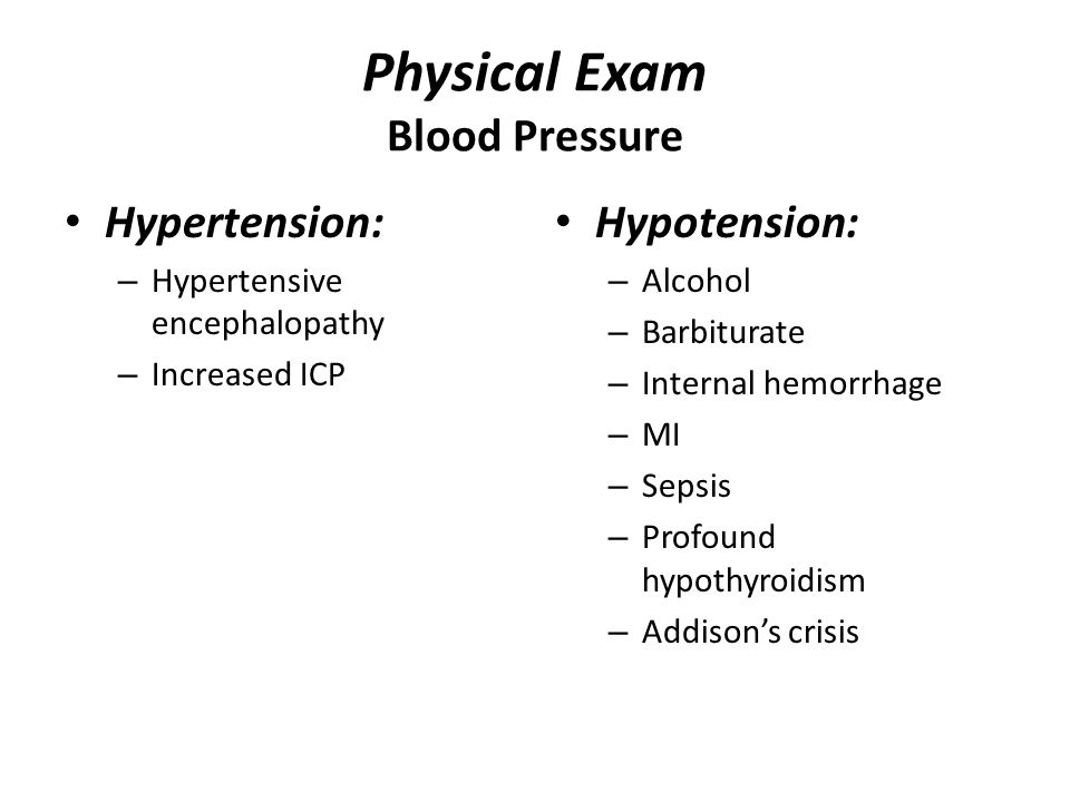 Physical Exam Blood Pressure