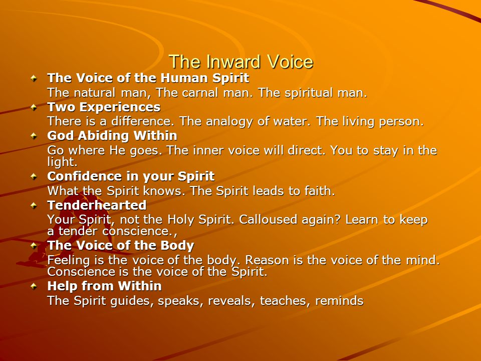 The Inward Voice The Voice of the Human Spirit