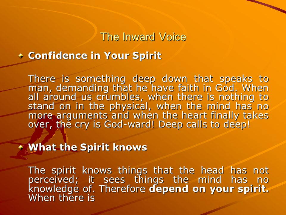 The Inward Voice Confidence in Your Spirit