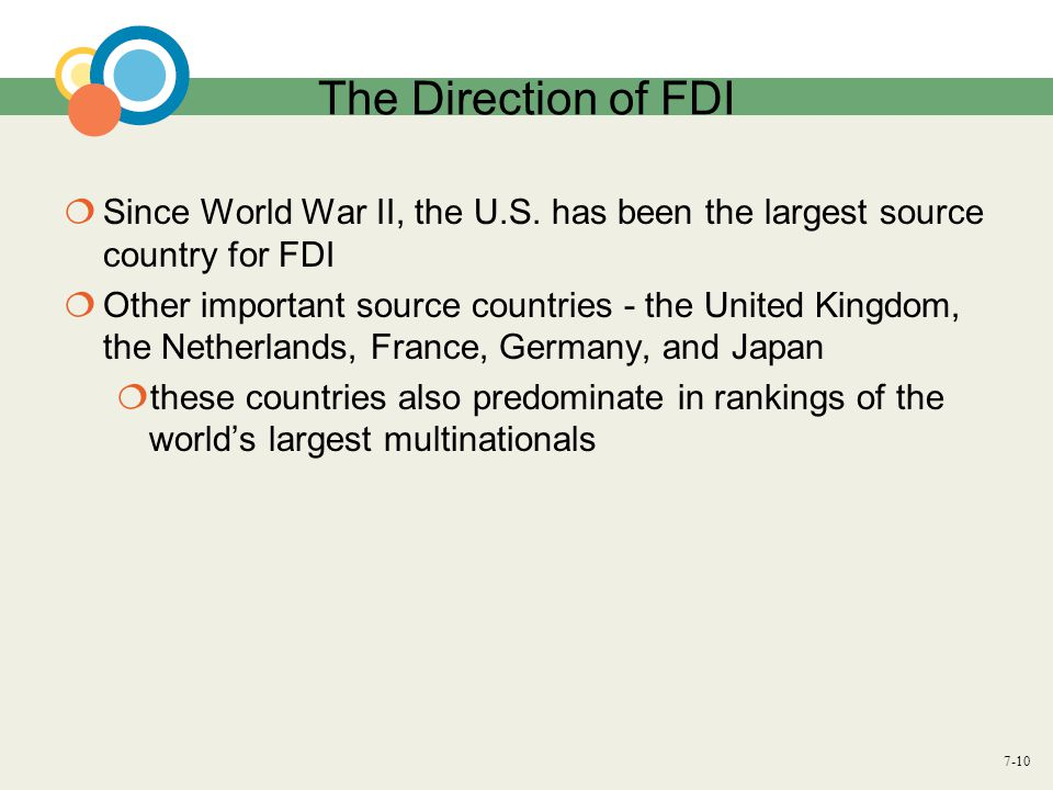 The Direction of FDI Since World War II, the U.S. has been the largest source country for FDI.
