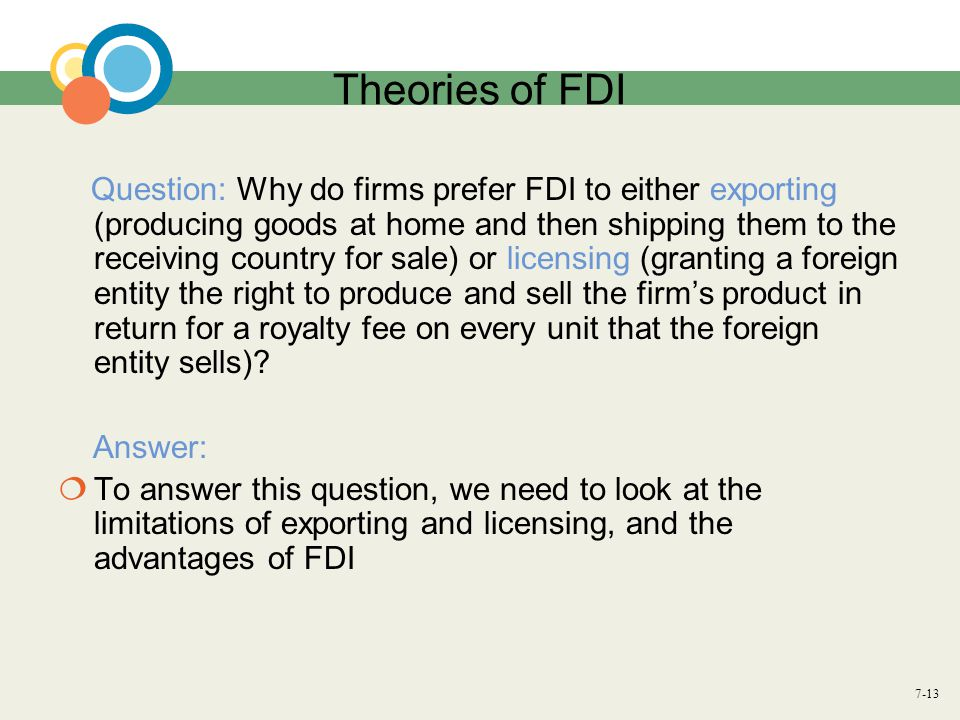 Theories of FDI Answer: