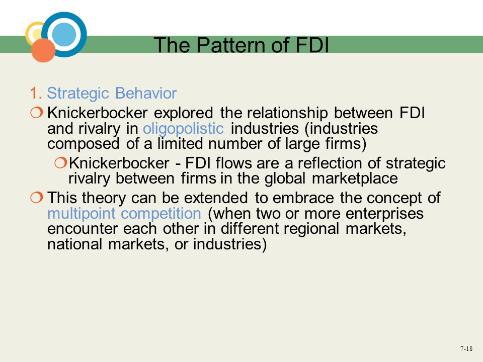 The Pattern of FDI 1. Strategic Behavior