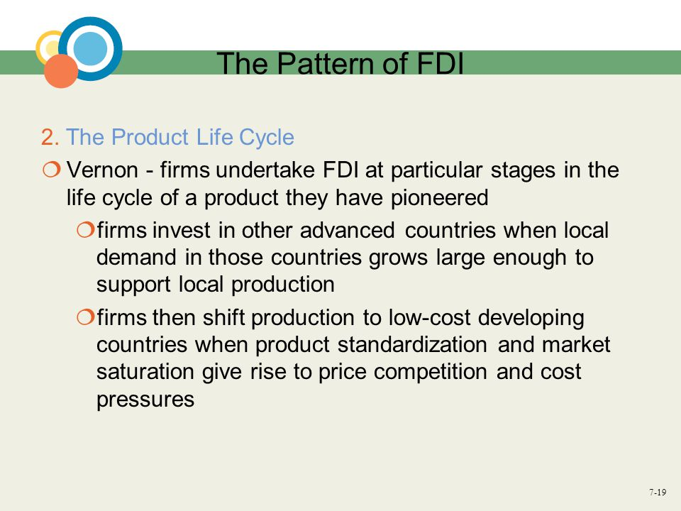 The Pattern of FDI 2. The Product Life Cycle