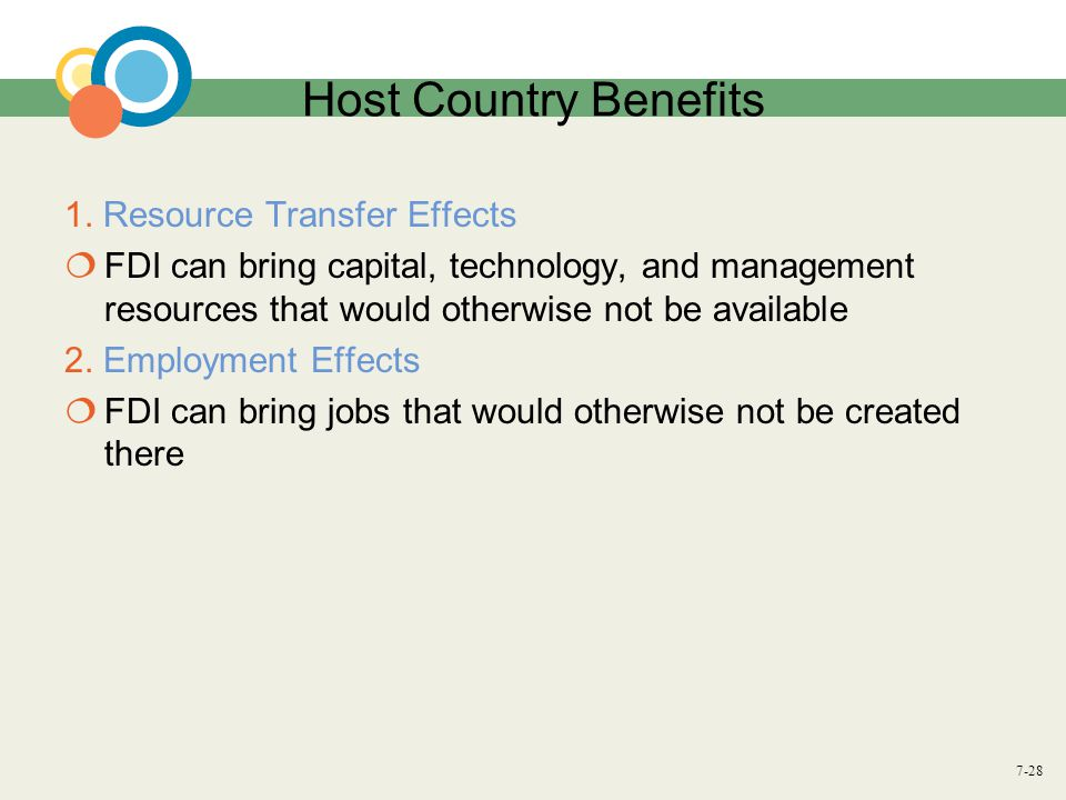 Host Country Benefits 1. Resource Transfer Effects