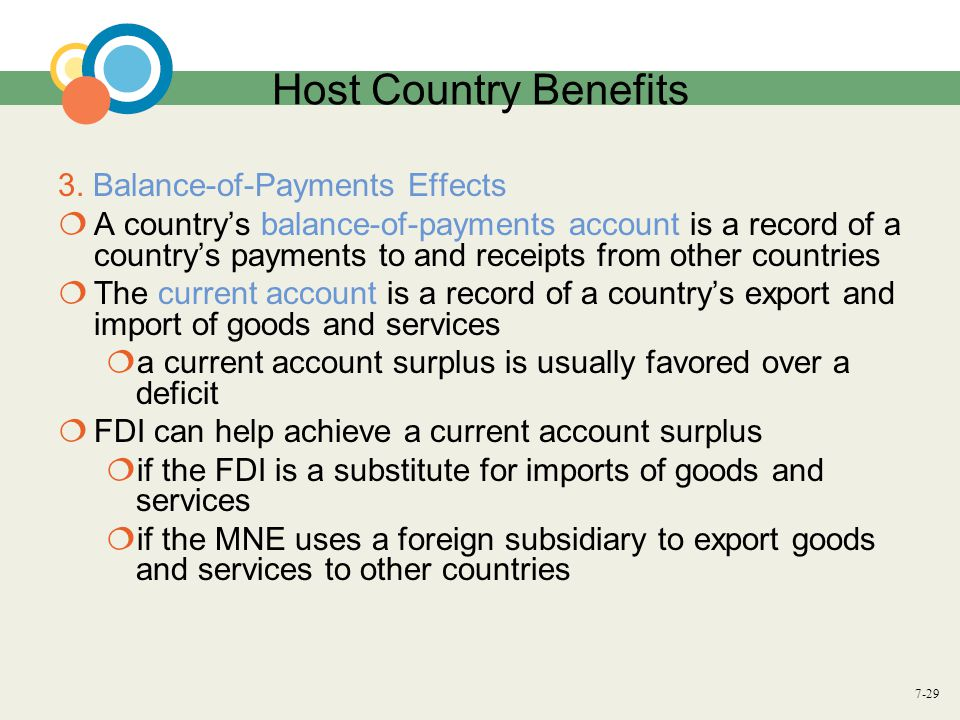 Host Country Benefits 3. Balance-of-Payments Effects