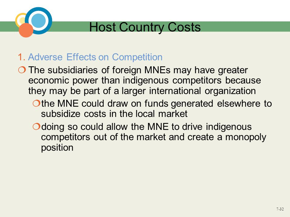 Host Country Costs 1. Adverse Effects on Competition