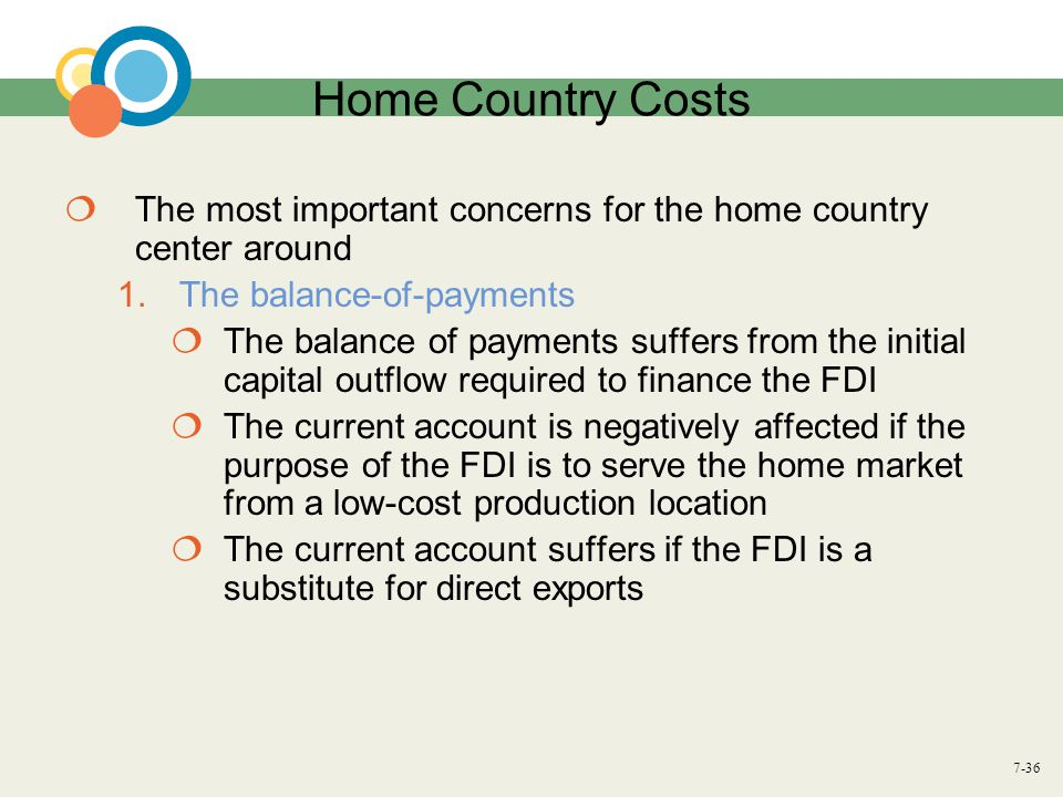 Home Country Costs The most important concerns for the home country center around. The balance-of-payments.