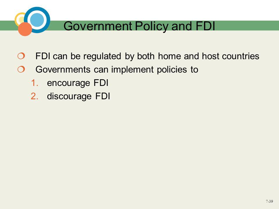 Government Policy and FDI