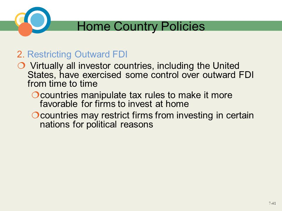 Home Country Policies 2. Restricting Outward FDI