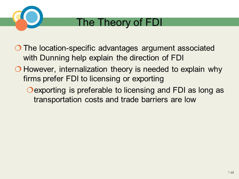 The Theory of FDI The location-specific advantages argument associated with Dunning help explain the direction of FDI.