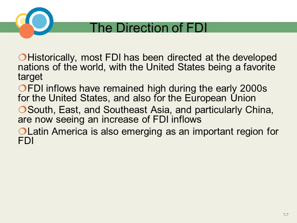 The Direction of FDI Historically, most FDI has been directed at the developed nations of the world, with the United States being a favorite target.