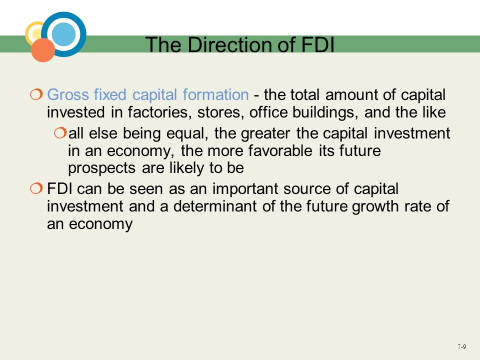 The Direction of FDI Gross fixed capital formation - the total amount of capital invested in factories, stores, office buildings, and the like.