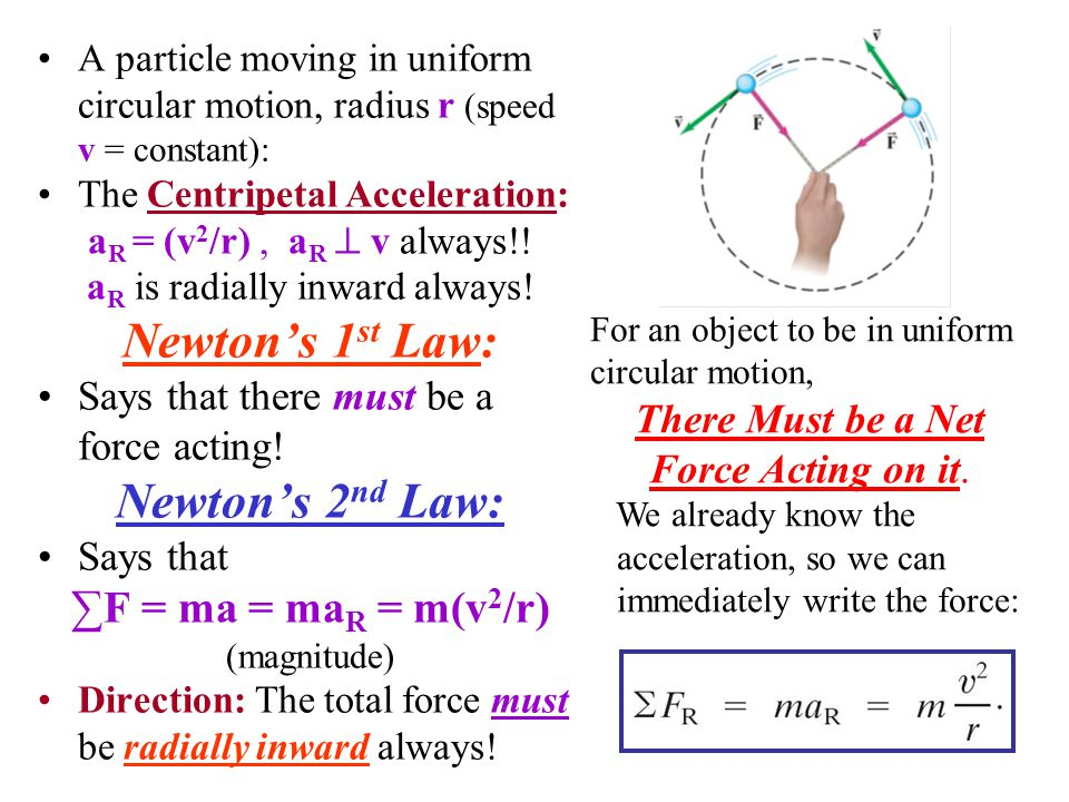 Newton's 1st Law: Newton's 2nd Law: ∑F = ma = maR = m(v2/r)