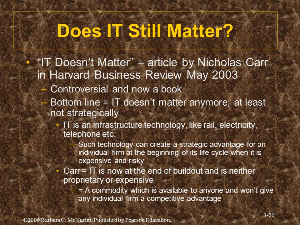 Does IT Still Matter IT Doesn't Matter – article by Nicholas Carr in Harvard Business Review May 2003.