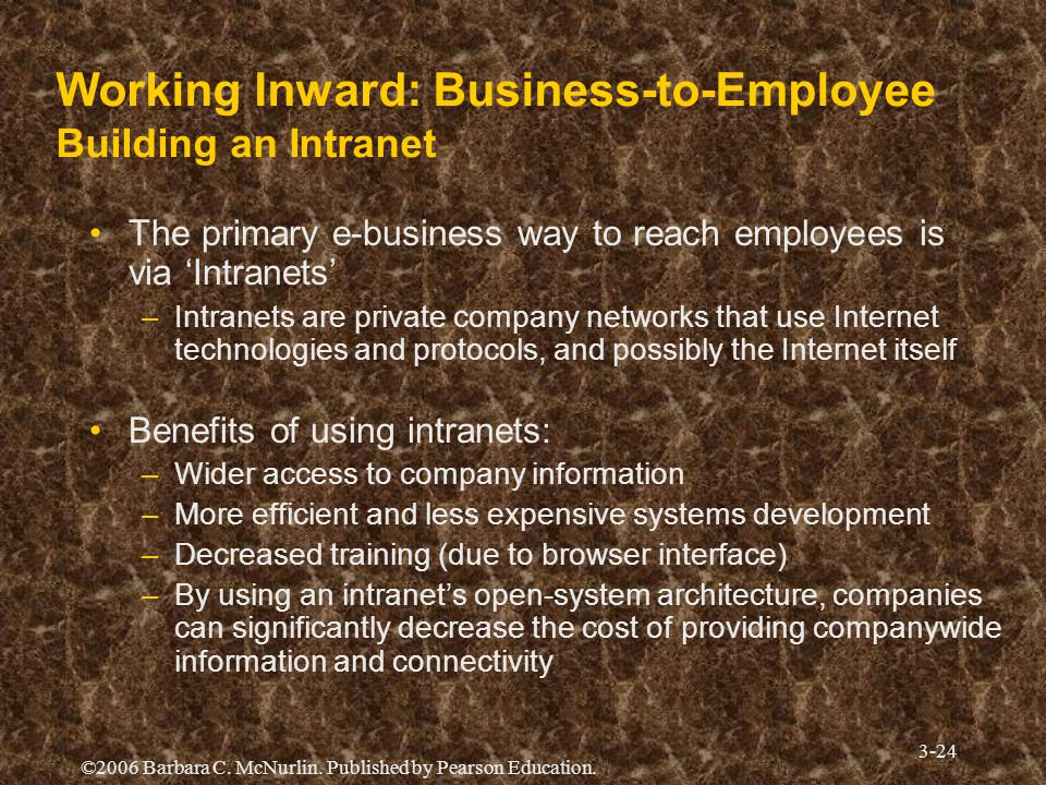 Working Inward: Business-to-Employee Building an Intranet