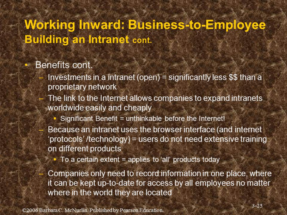 Working Inward: Business-to-Employee Building an Intranet cont.