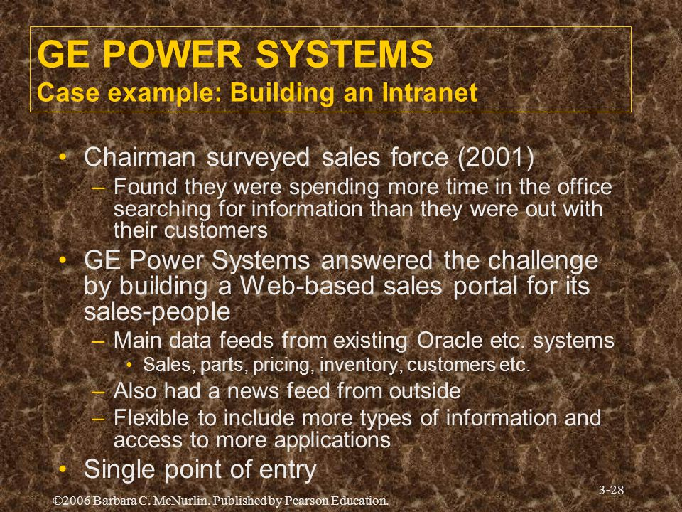 GE POWER SYSTEMS Case example: Building an Intranet