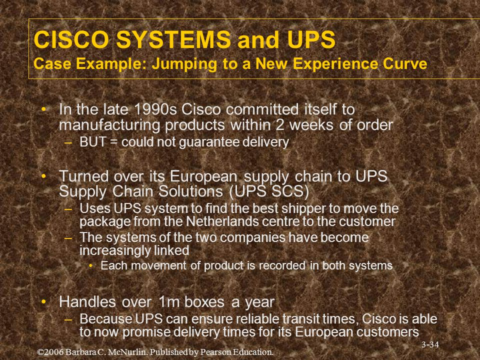 CISCO SYSTEMS and UPS Case Example: Jumping to a New Experience Curve