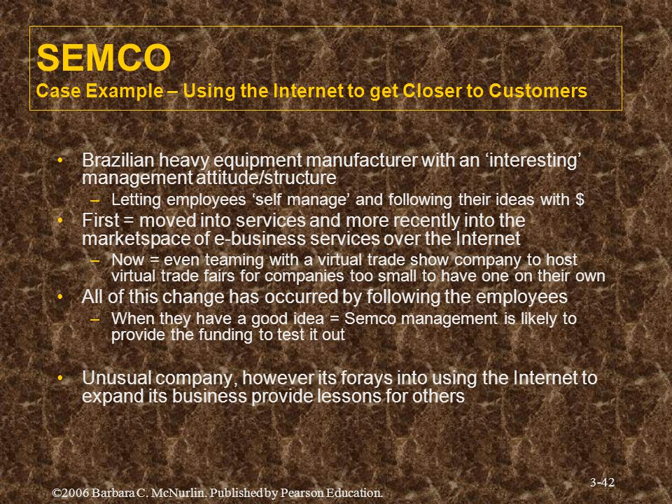 SEMCO Case Example – Using the Internet to get Closer to Customers