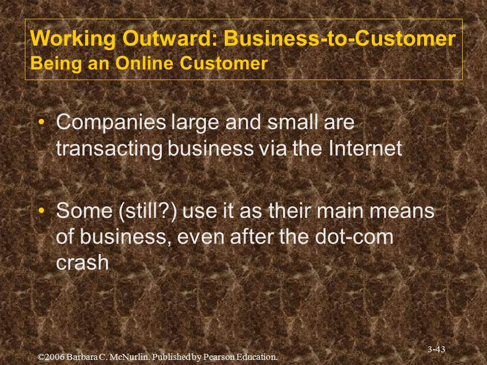 Working Outward: Business-to-Customer Being an Online Customer