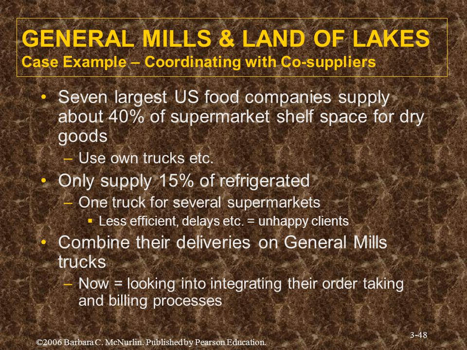 GENERAL MILLS & LAND OF LAKES Case Example – Coordinating with Co-suppliers