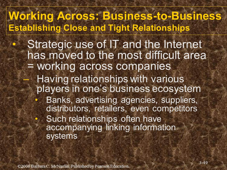 Working Across: Business-to-Business Establishing Close and Tight Relationships
