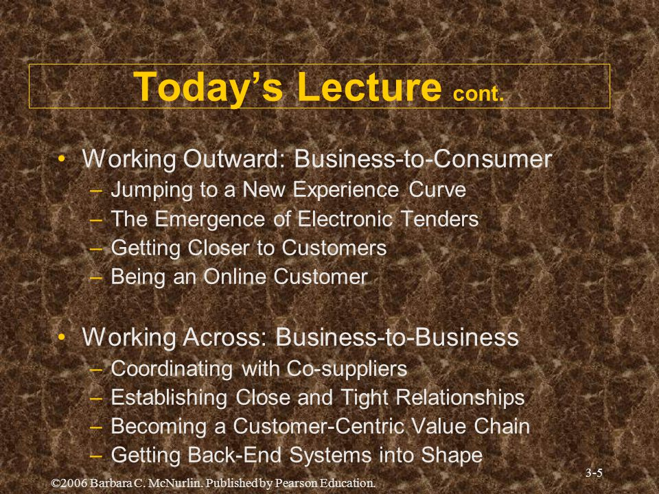 Today's Lecture cont. Working Outward: Business-to-Consumer