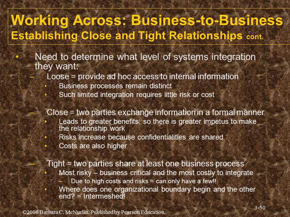 Working Across: Business-to-Business Establishing Close and Tight Relationships cont.