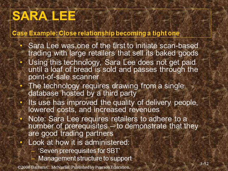 SARA LEE Case Example: Close relationship becoming a tight one