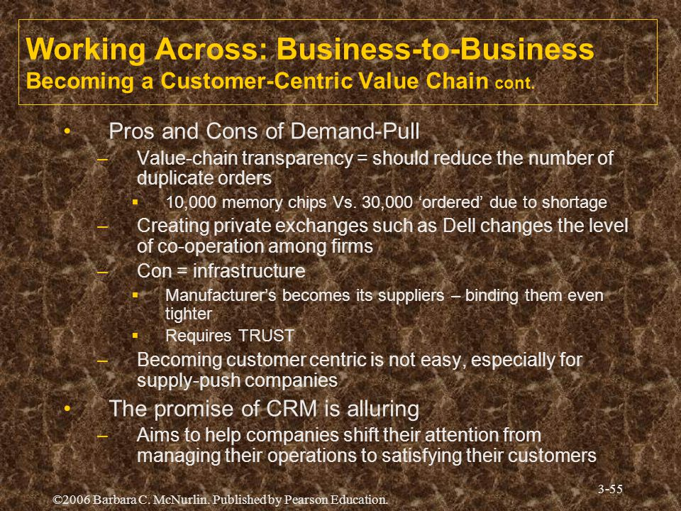 Working Across: Business-to-Business Becoming a Customer-Centric Value Chain cont.