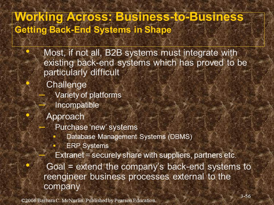 Working Across: Business-to-Business Getting Back-End Systems in Shape