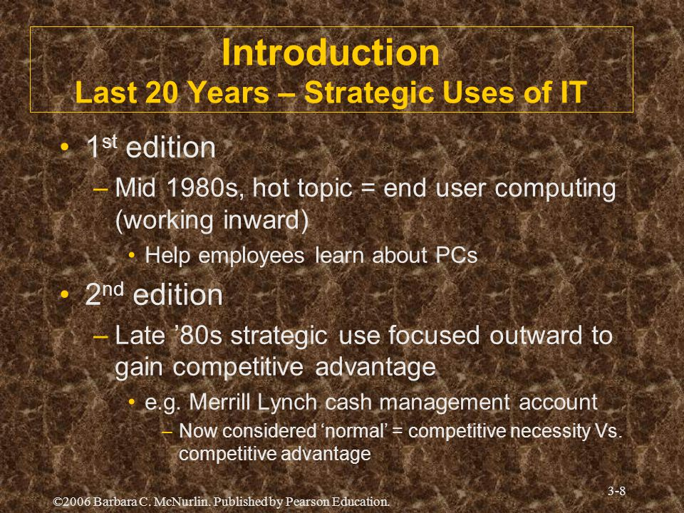 Introduction Last 20 Years – Strategic Uses of IT