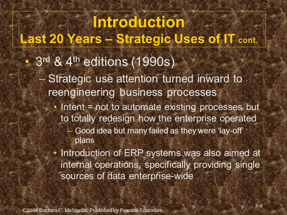 Introduction Last 20 Years – Strategic Uses of IT cont.