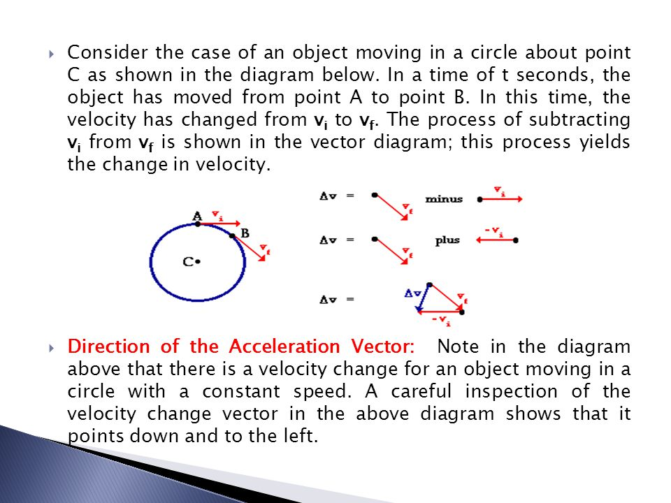 Consider the case of an object moving in a circle about point C as shown in the diagram below. In a time of t seconds, the object has moved from point A to point B. In this time, the velocity has changed from vi to vf. The process of subtracting vi from vf is shown in the vector diagram; this process yields the change in velocity.
