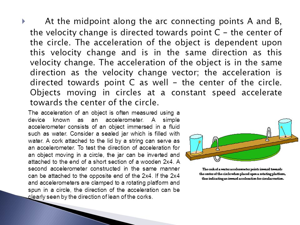 At the midpoint along the arc connecting points A and B, the velocity change is directed towards point C - the center of the circle. The acceleration of the object is dependent upon this velocity change and is in the same direction as this velocity change. The acceleration of the object is in the same direction as the velocity change vector; the acceleration is directed towards point C as well - the center of the circle. Objects moving in circles at a constant speed accelerate towards the center of the circle.
