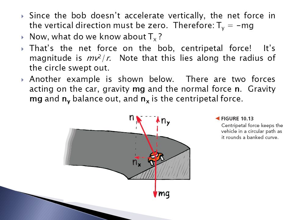 Since the bob doesn't accelerate vertically, the net force in the vertical direction must be zero. Therefore: Ty = -mg