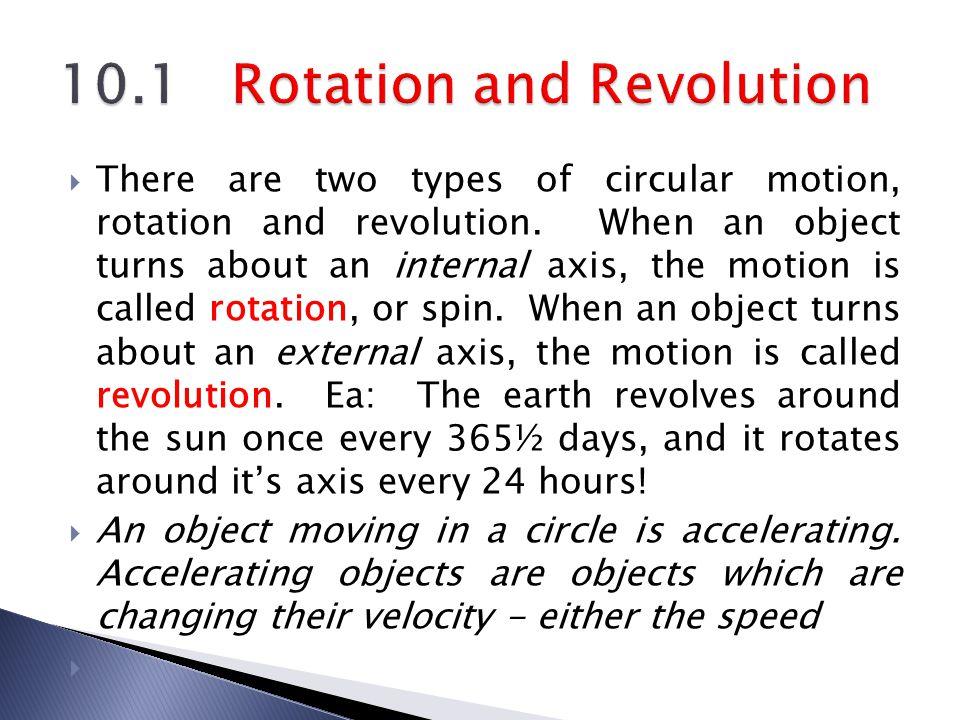 10.1 Rotation and Revolution