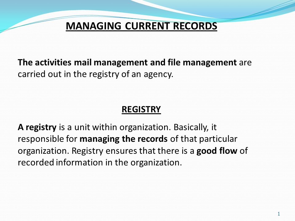 Managing Current Records - Registry