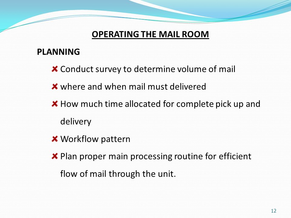 OPERATING THE MAIL ROOM